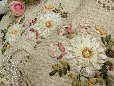 Vtg PINK Shabby Flower HAND Crochet Table Runner Dresser Scarf  RIBBON Chic Oval