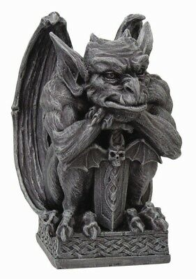 "Winged Gargoyle Warrior Guardian with Bat Sword and Shield Figurine 7""H Statue"
