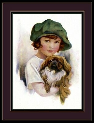 English Picture Print Pekingese Dog Little Girl Art