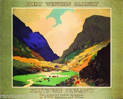 Southern Ireland Great Britain Vintage Travel Advertisement Poster Picture Print