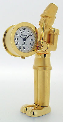 Novelty Miniature Toy Soldier Clock in Gold or Chrome Plate