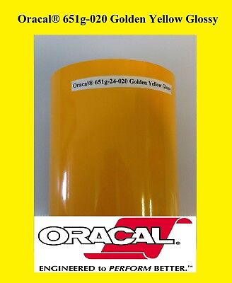 "12"" x 10 FT Roll Golden Yellow Glossy Oracal 651 Vinyl Adhesive Plotter Sign 020"