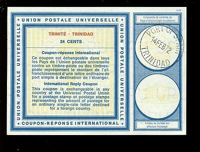 TRINIDAD 1972 IRC REPLY PAID COUPON 24c...VALENTINES DAY POSTMARK