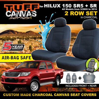 TUFF CANVAS Custom Made Seat Covers to Suit Toyota Hilux SR5 SR F+R 03/2005-2015
