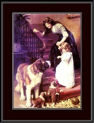 English Picture Print St. Saint Bernard Dog Dogs Puppy Girl Vintage Poster Art