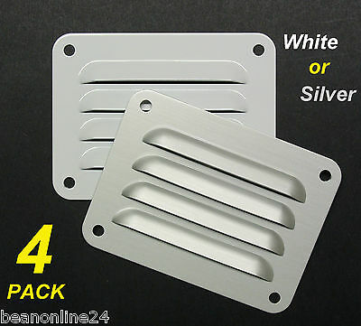 4 Pack Aluminium Air Vents 100 x 75mm - White or Silver