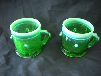 Two (2) Northwood STUMP AND VINE green opalescent cups
