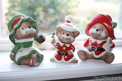 Vintage Set Of 3 Homco Bears Christmas Choir Bear