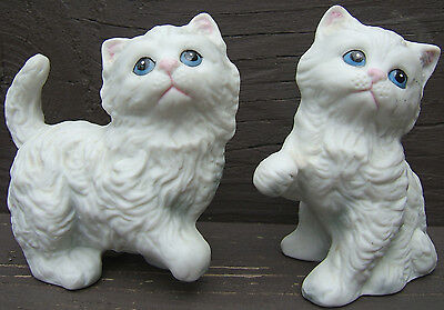 Cats Kittens Blue EyesTwo Ceramic Figurines Homco Made in Japan Vintage 1970s