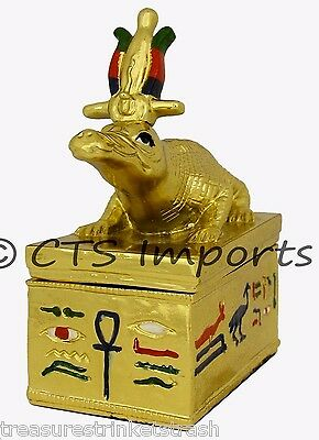 Gold Plated Sobek Collectible Trinket Jewelry Box EGYPTIAN TREASURES