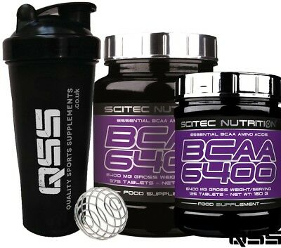 SciTec BCAA 6400 mg ESSENTIAL BCAA'S AMINO ACIDS RECOVERY BRANCHED CHAIN + SHAKE