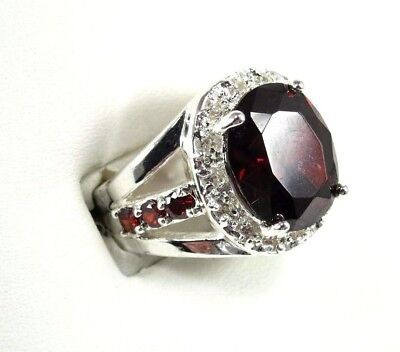 R#2563 simulated Red Garnet & White Topaz Gemstone ladies silver ring size 7
