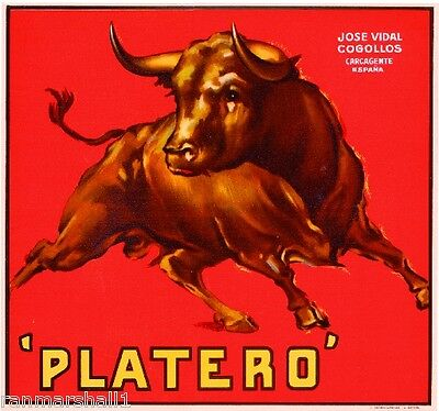 Espana Spanish Spain Platero Bull Orange Citrus Fruit Crate Label Print