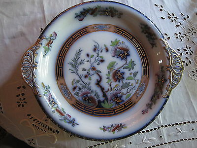 Antique Copeland Raised Platter Indian Tree Polychrome Chinoiserie Flow Blue