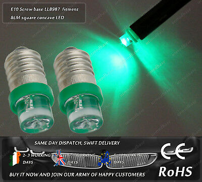 2x E10 Screw Base LLB987 LED Green HID Vintage Classic Car Instrument Bulbs Lamp