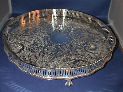 ***Reed & Barton Silverplate Footed Reticulated Chased Gallery Tray 603 England