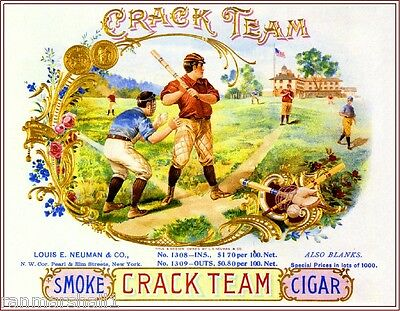 Crack Team Baseball Vintage Smoke Cigar Box Crate Inner Label Art Print