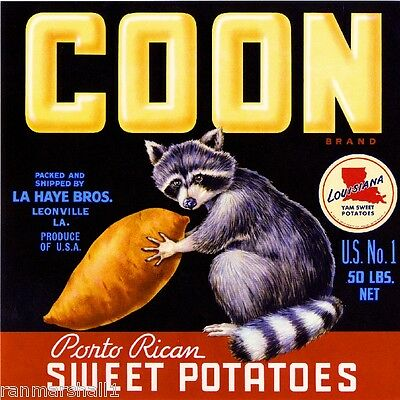 Leonville Louisiana Coon Raccoon Sweet Potato Yam Vegetable Crate Label Print