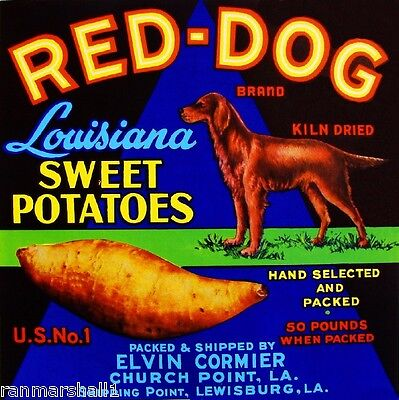 Lewisburg Louisiana Red-Dog Irish Setter Yams Sweet Potatoes Crate Label Print