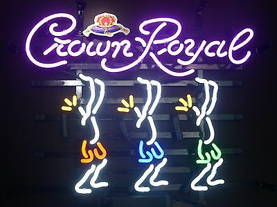 New Crown Royal Play Today Work Manana Real Glass Neon Light Beer Bar Sign L115