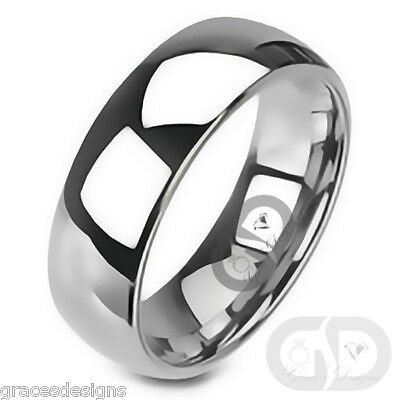 Mens Classic 8mm Traditional Wedding Band 316L Stainless Steel Ring Sizes 9-14.5
