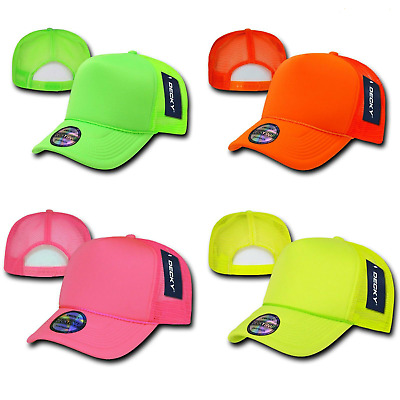 1 Dozen Decky Plain Neon Foam Mesh Trucker Hats Caps Snapback Wholesale