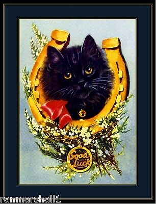 English Picture Print Good Luck Black Kitten Cat Art