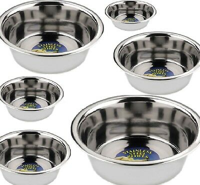 STAINLESS STEEL BOWLS - (13cm - 33cm) - Pet Dog Cat Animal dm Food Water Dish cm