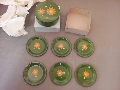 vintage takahashi coasters daisy print new old stock.