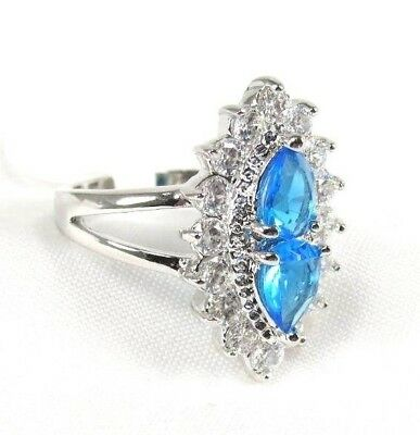 R+2514, 5x7 mm, Pear cut Sea Blue Topaz Gemstone Ring .925 Sterling sp Sz 8