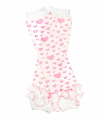 NEW Pink Hearts Ruffled Leg Warmers