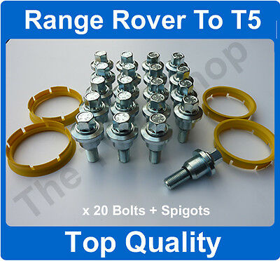 New Range Rover To Vw T5 Alloy Wheel Fitting Kit Bolts & Rings Conversion Kit