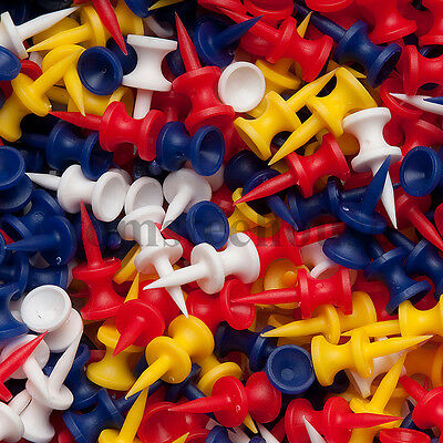 100 COLOURED PLASTIC STEP CASTLE GOLF TEES (30mm Small) + Free Golf Ball Markers
