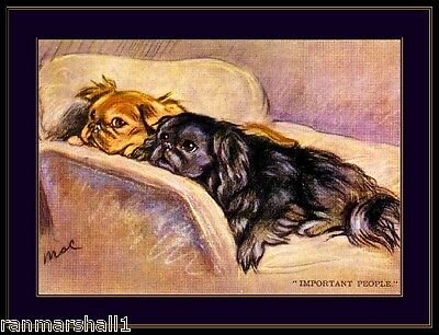 English Picture Print Pekingese Puppy Dog Duo Art