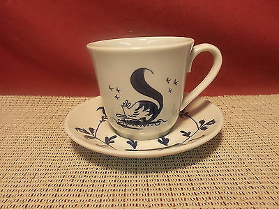 Homer Laughlin China Christiana Campbell's Tavern  Cup & Saucer Blue Squirrel