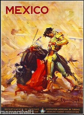 Mexico Bull Fighting Mexican Spanish Vintage Travel Advertisement Art Poster