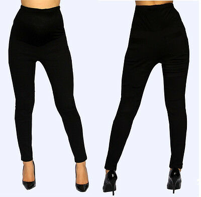 Black Skinny Pants Bottoms Maternity Elastic Band Stripped Back Pocket S M L XL