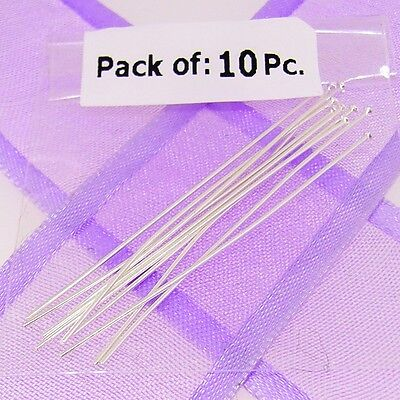 10 X Sterling Silver Head Pins For Jewellery Making