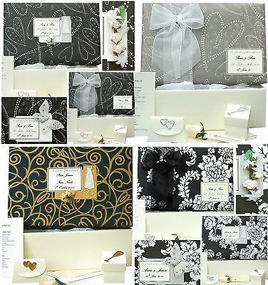 Wedding Keepsake Memory Box - 4 Black Designs PERSONALISED 4 Motifs +/- Extras
