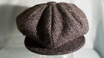 8 piece cap 100% wool Harris tweed newsboy baker boy gatsby cabbie from SCOTLAND
