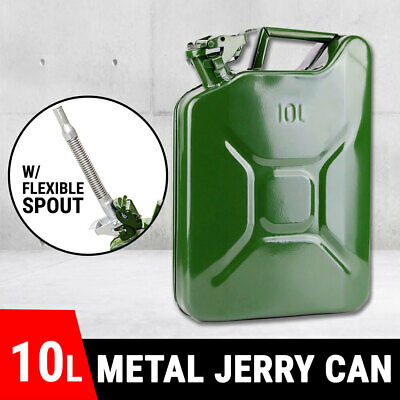 Fuel Can 10 litre Metal + Detachable Pour Spout, Jerry Can, Petrol Storage, New