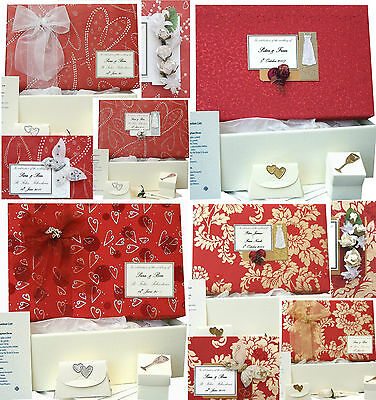 LARGE Wedding Keepsake Memory Box 4 Red Designs PERSONALISED 4 Motifs +/- Extras