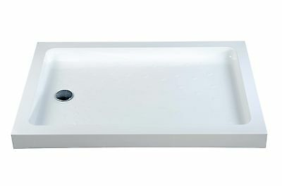 White Traditional High Wall Rectangle Stone Resin Rectangle Shower Tray &  Waste