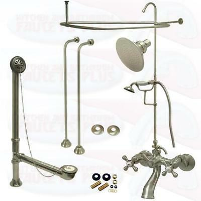 Satin Brushed Nickel Clawfoot Tub Faucet Kit W/Shower Riser, Enclosure , & Drain