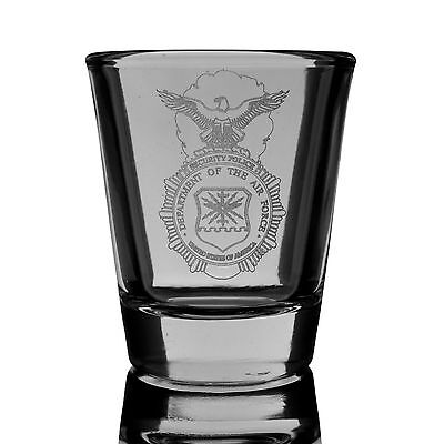 2oz Security Police shield  SHOT GLASS  Military USA Air Force