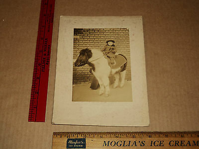 Original VTG 1923 Brooklyn NY Boy Robert Stivers Riding Pony Cabinet Card Photo