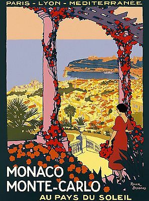 Monaco Monte Carlo France French European Travel Art Poster Advertisement