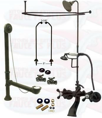 Oil Rubbed Bronze Clawfoot Tub Faucet Kit W/Shower Riser, Enclosure , & Drain