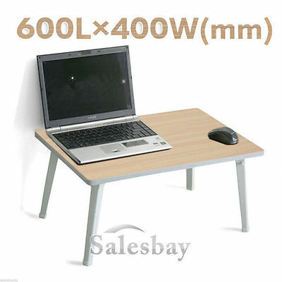 Portable Wooden Folding Laptop Table w Steel Legs Computer Stand Notebook Tray