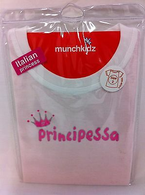 Principessa Italian Princess Baby T-Shirt Size 2 Novelty Cute Babies Bub Kid New